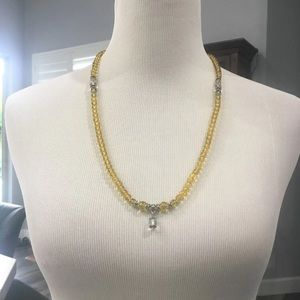 Gold silver stretch necklace